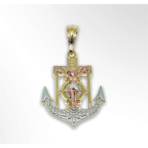 Anchor Three Tones Pendant in 18kts of Gold Plated Charms