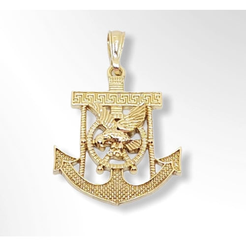 Anchor with Eagle in the Center Pendant in 18kts of Gold Plated Charms