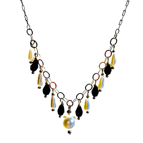 Black And White Faux Pearls 18Kts Of Gold Plated Necklace Chains