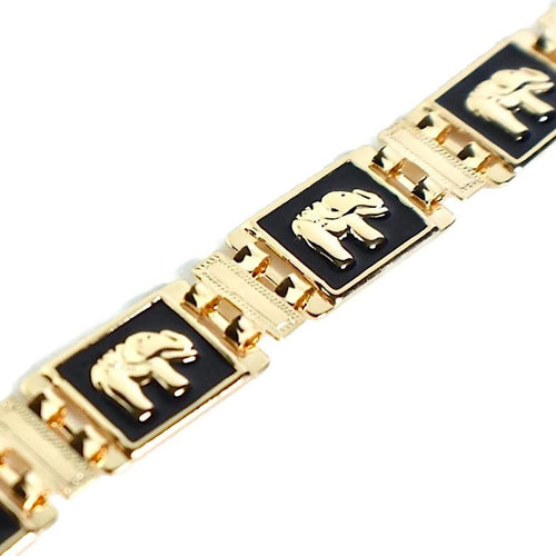 BLACK ENAMEL ELEPHANT 18KTS OF GOLD PLATED BRACELET Bracelets