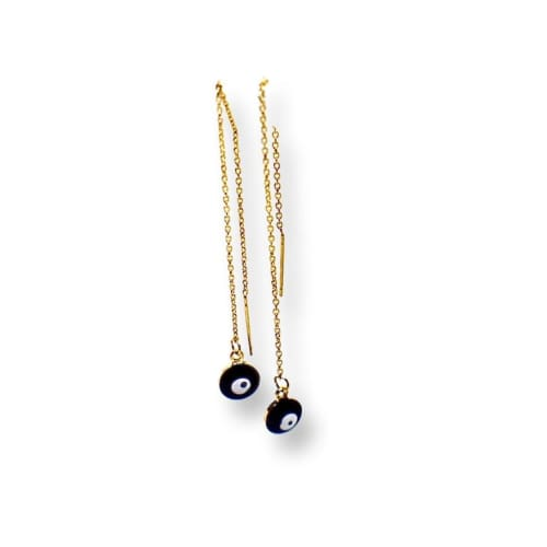 Black Evil Eye Threaders Gold Plated Earrings Earrings