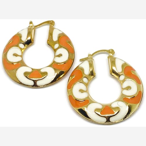 Boho Enamel Orange and White 18kts of Gold plated Hoops Earrings