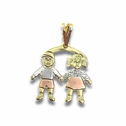 Boy and Girl Kids Pendant Three Tones in 18kts of Gold Plated Charms