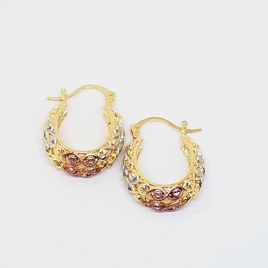 Braided Filigree Earrings Hoops in 18kts of Gold Plated Earrings