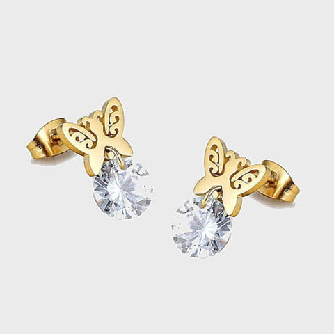 Little Stars Studs Gold Over Stainless Steel Earrings
