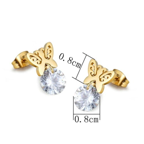 Butterfly Studs Gold Plated over Stainless Steels Earrings Studs Earrings