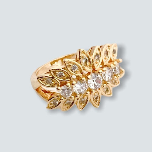Clear Stones Ring in 18k of Gold Plated Rings