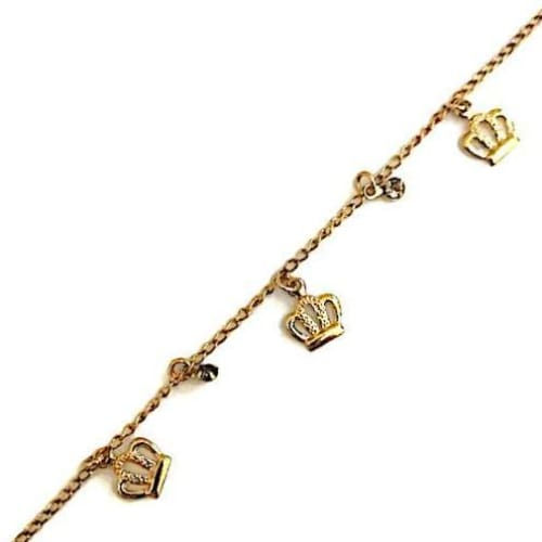 Crown Charms Design Anklet 18Kts Of Gold Plated Anklet