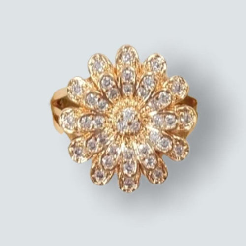 Cz Flower Ring in 18k of Gold Plated Rings