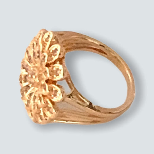 Cz Flower Ring in 18k of Gold Plated