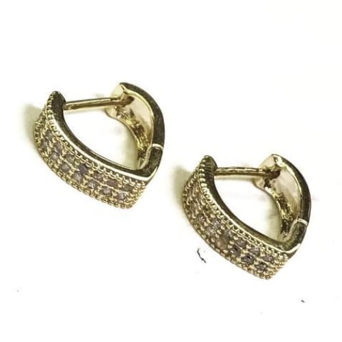 Cz Heart Shape Huggies Earring Hoops 18Kts Of Gold Plated Earrings