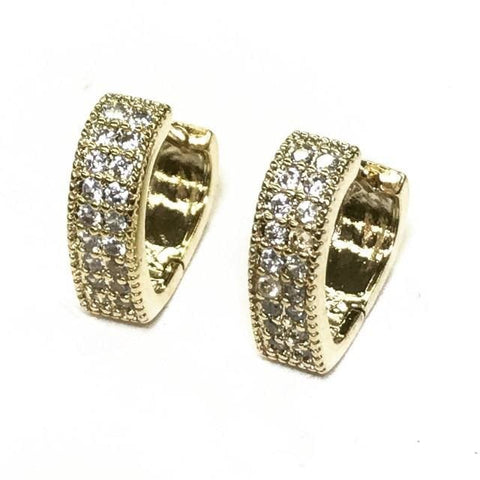 White Cz stones 12mm earrings 18kts of gold plated