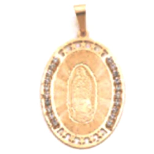 Cz Oval Shape Guadalupe 18Kts Gold Plated Pendant Charms
