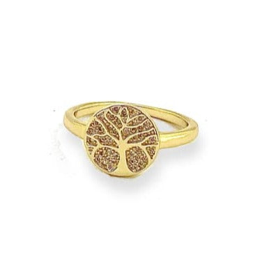 Cz Tree of Life Ring Gold Plated 9 Rings