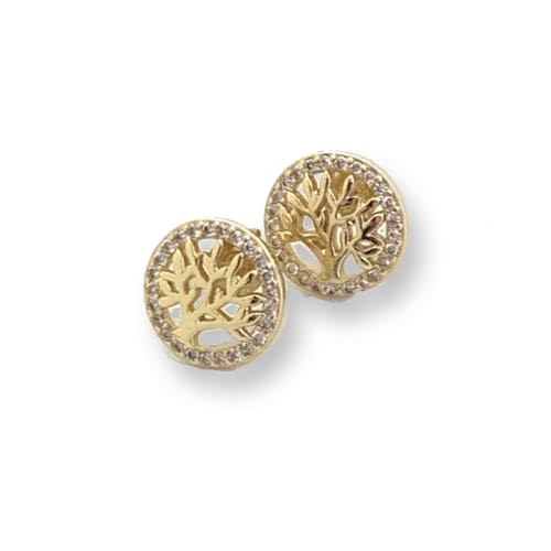 Cz Tree of Life studs Gold Plated Earrings