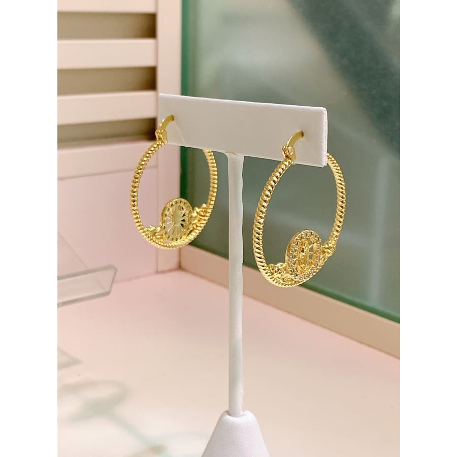 CZ VIRGIN HOOPS EARRINGS IN 18K OF GOLD PLATED EARRINGS