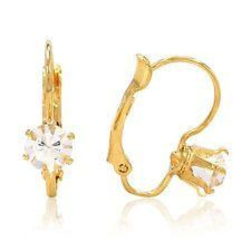 Cz White Lever Back 18Kts Gold Plated Earrings