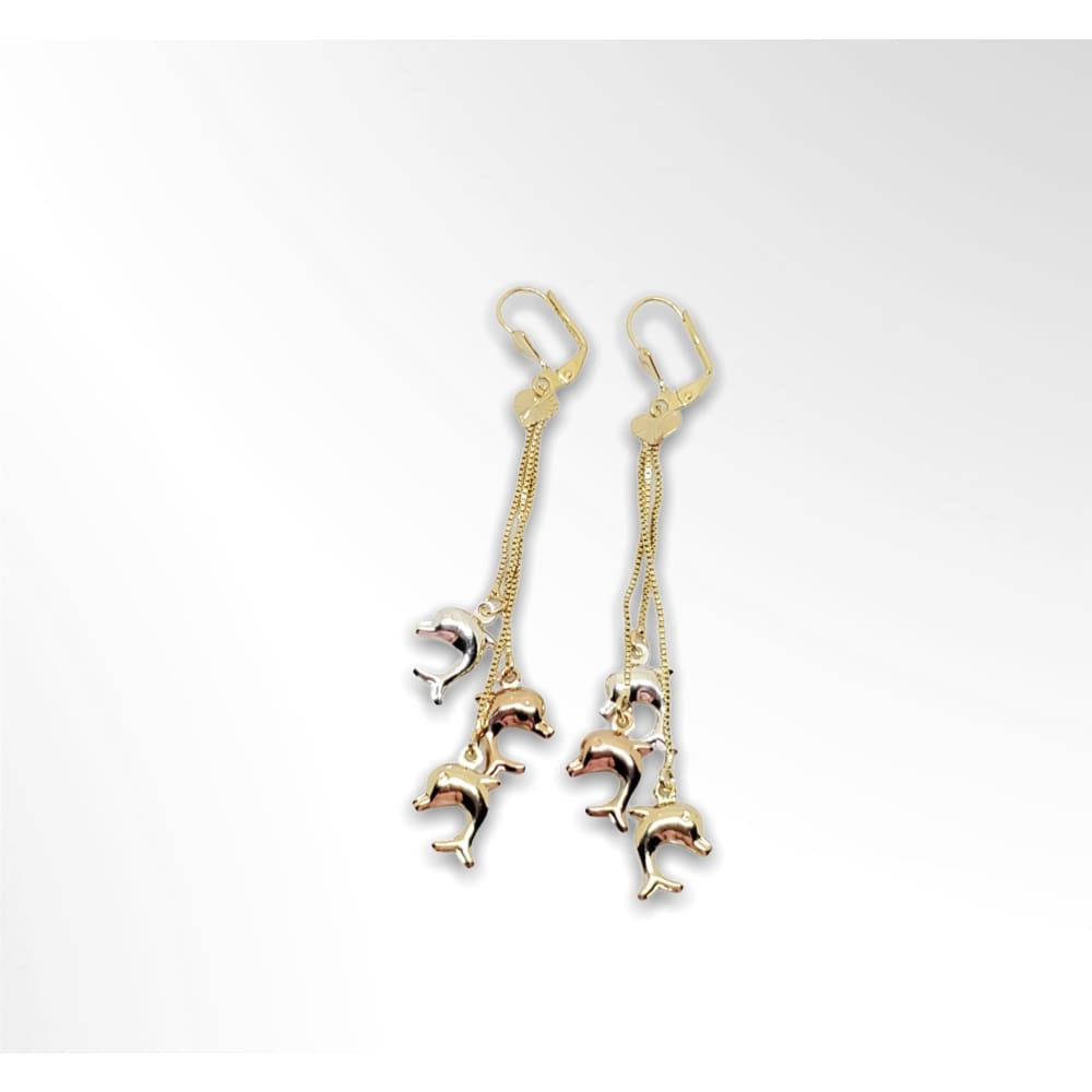 Dolphins Three tones Earrings in 14Kts of Gold Plated Earrings