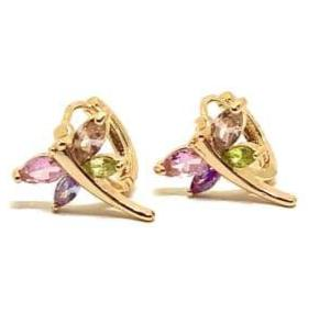 Dragonfly multicolor Huggies Earrings 18kts of Gold Plated