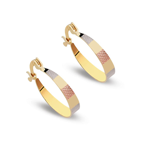 Chevron Earrings Hoops 18Kts of Gold Plated