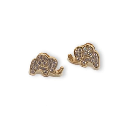 Elephants Cz Studs earrings 18kts of Gold Plated Earrings
