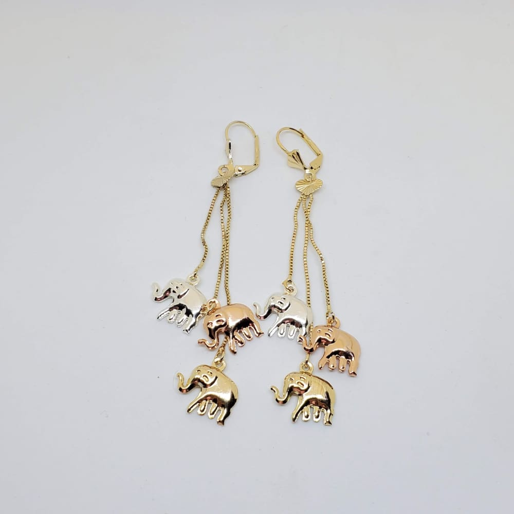 Elephants Three Tone Earrings 18kts of Gold Plated Earrings