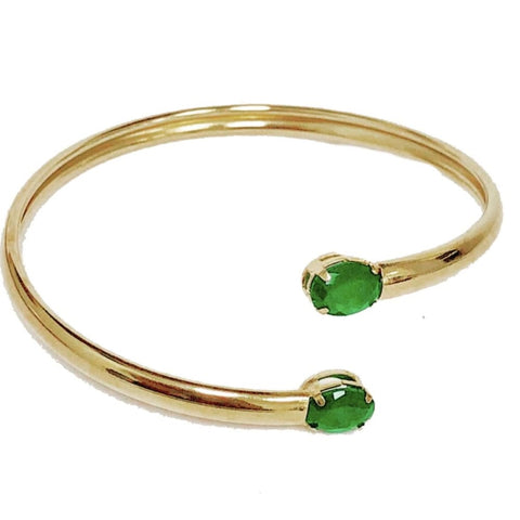 Double Emerald  Crystals Huggies - Hoops Earrings 18Kts of Gold Plated