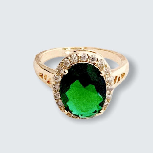 Emerald Green Oval Shape Faux Stone Ring in 18k of Gold Plated