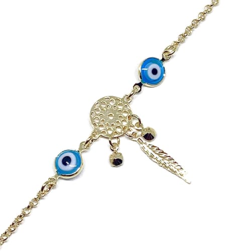 Evil Eye Dream Catcher Anklet 18ktds Of Gold Plated Anklet