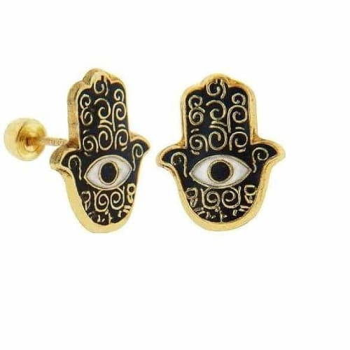 Fatimas Hands Screw backs studs earrings In Solid Gold Earrings