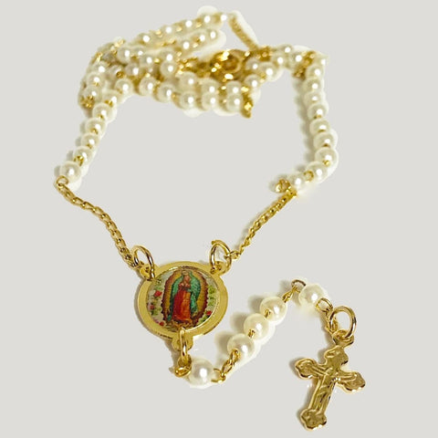 FILIGREE VIRGEN MARY AND JESUS 18K GOLD PLATED ROSARY