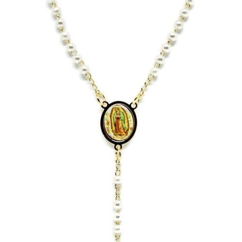 Faux Pearls Virgen Guadalupe Rosary Rosaries