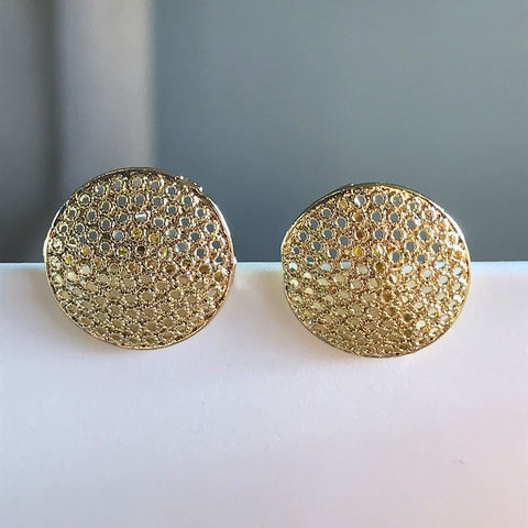 Cz Spheres crystals earrings studs 18kts of gold plated