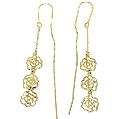 Flower Charm Threaders Earrings 18K of Gold-Filled Earrings