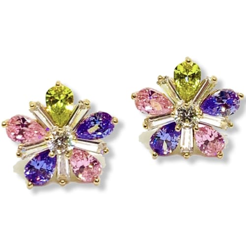 Flower Crystals Goldfilled Earrings Studs Earrings