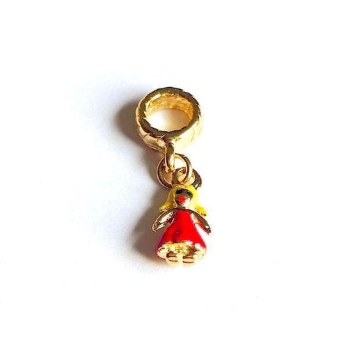 Girl On A Red Dress European Bead Charm 18Kt Of Gold Plated Charms