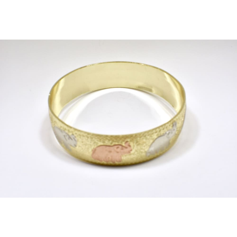 Goldfilled Tricolor Elephant Cuff Bangle Bracelets