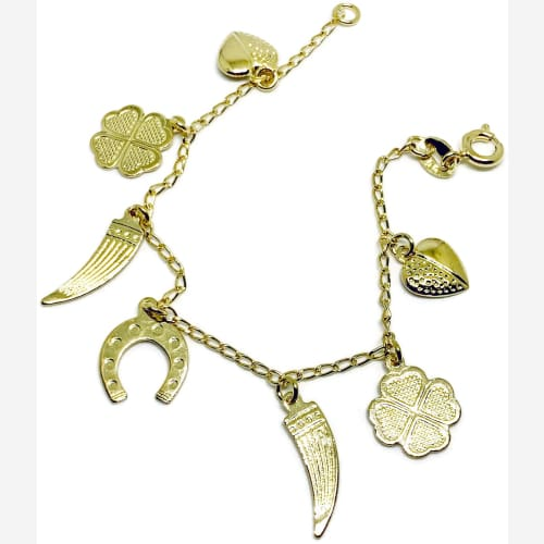 Good Luck Baby Charm Bracelet 18Kts of Gold Plated Bracelet