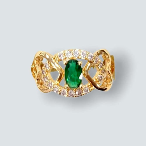 Green Eye Center Stone 2 Hearts Sides  Ring in 18k of Gold Plated