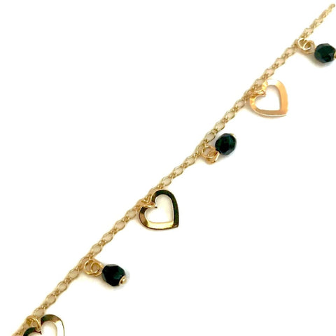 Black and Amber 3mm Beads Rosary 18Kts Of Gold Plated