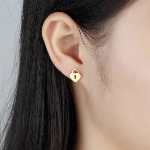 Heart Lock and Antique Key Gold Stainless Steel Studs Earrings Earrings
