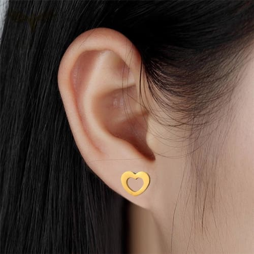 Heart Studs Gold Plated Stainless Steel Earrings Earrings