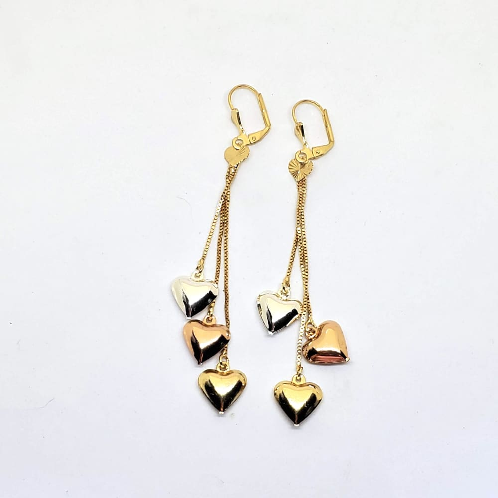 Hearts Three Tones Earrings in 18kts of Gold Plated Earrings