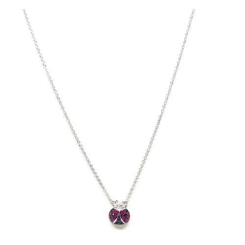 HOT PINK LADYBUG SILVER PLATED NECKLACE Chains