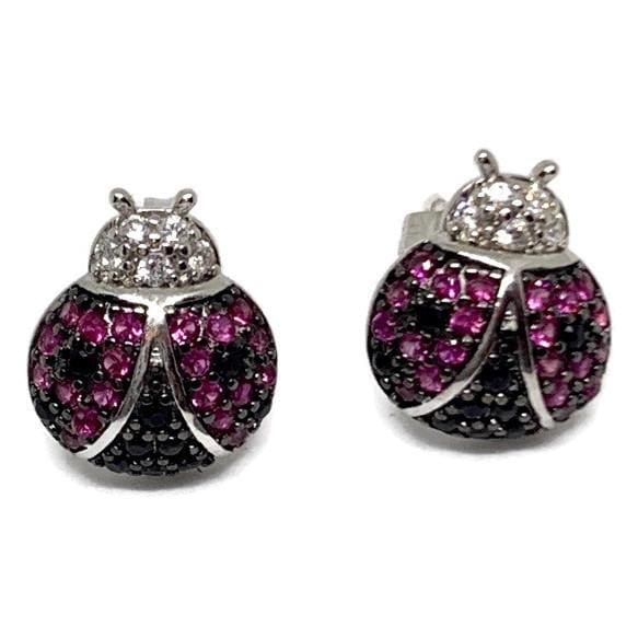 HOT PINK LADYBUG STUDS SILVER PLATED EARRINGS Earrings