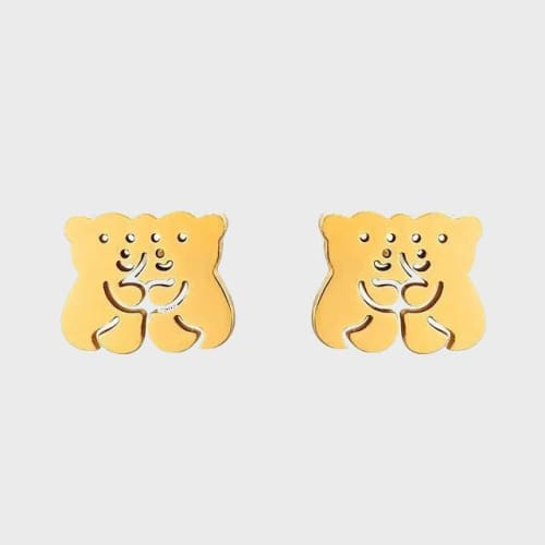 Hugging Little Bears Gold Over Stainless Steel Studs Earrings Earrings