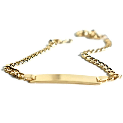 Id Plated 3Mm Curb Link Bracelet 18Kts Of Gold Plated Bracelets