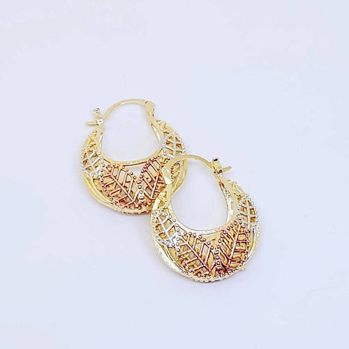 Filigree Leafs Hoop Earrings Argollas en Oro Laminado