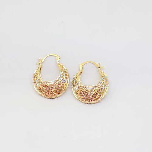 Leaf Filigree Hoops Earrings 18Kts of Gold Plated Earrings