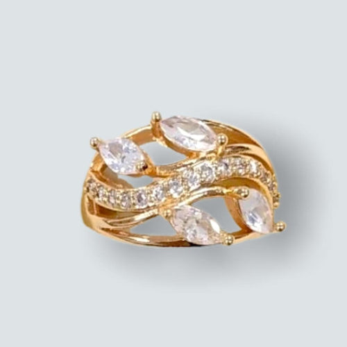 Leaves vines Shape Clear Stones Ring in 18k of Gold Plated Rings
